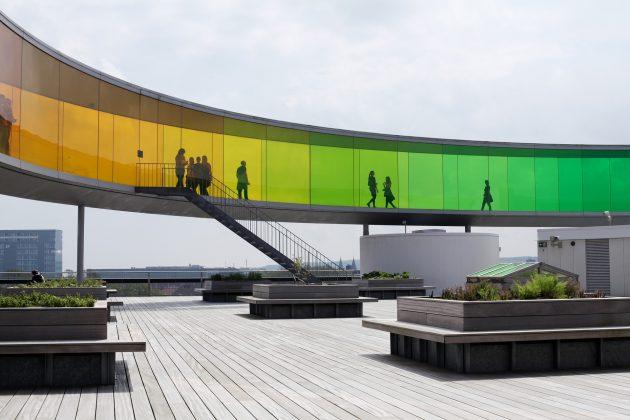 Aros kunstmuseem regnbuen med mennesker der går derinde