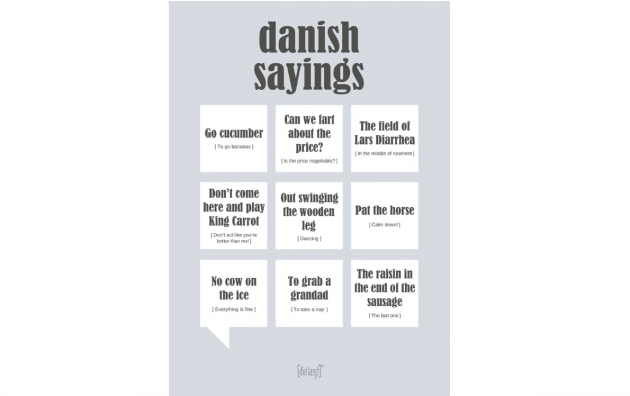 "Plakat med sjove ""danish sayings"""